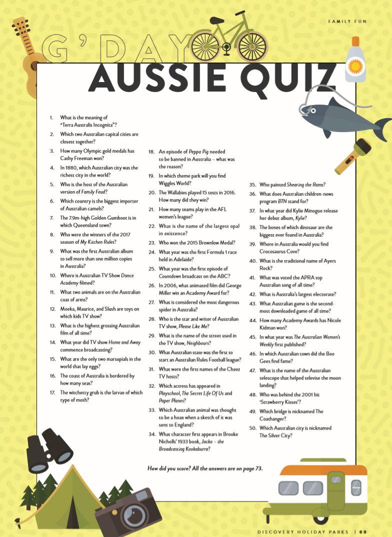G'DAY Aussie Quiz | Discovery Parks